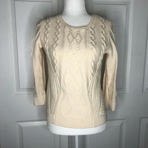 Ann Taylor cable knit wool cream sweater